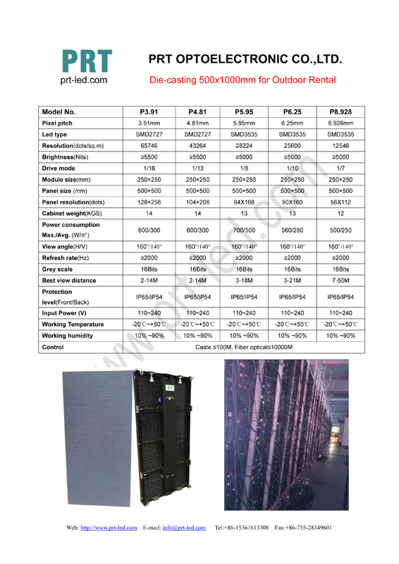 Outdoor Die-casting 500x1000mm for rental