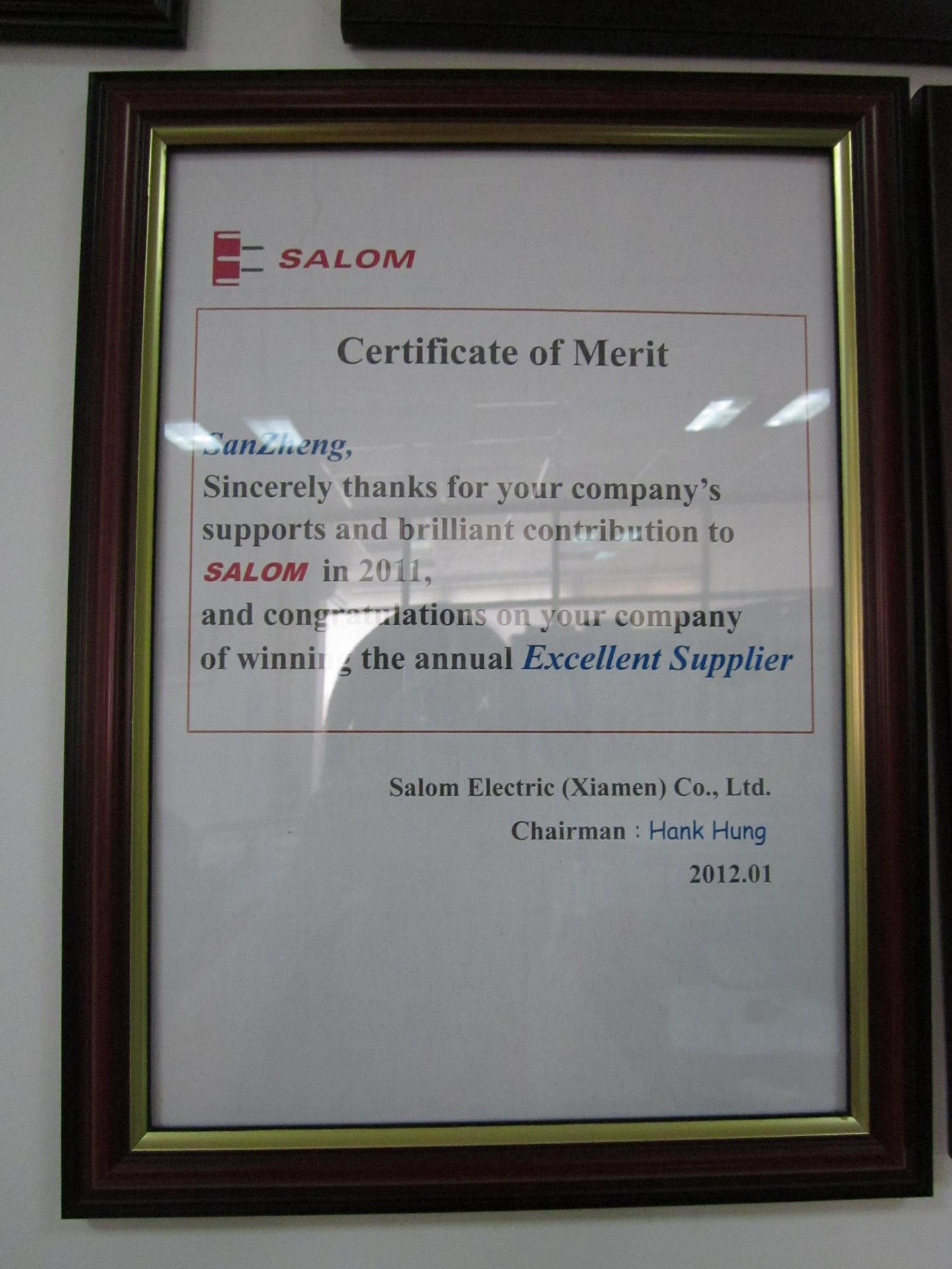 Certificate of Merit from SALOM --Annual Excellent Supplier