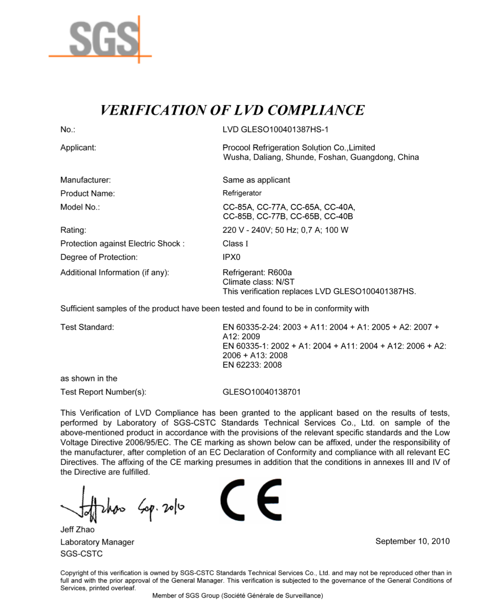 Can Cooler CE Certificate