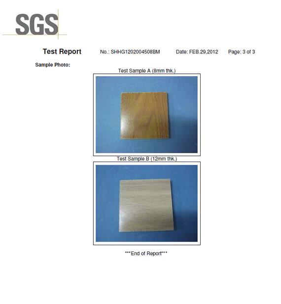 SGS test report LAMINATE FLOORING