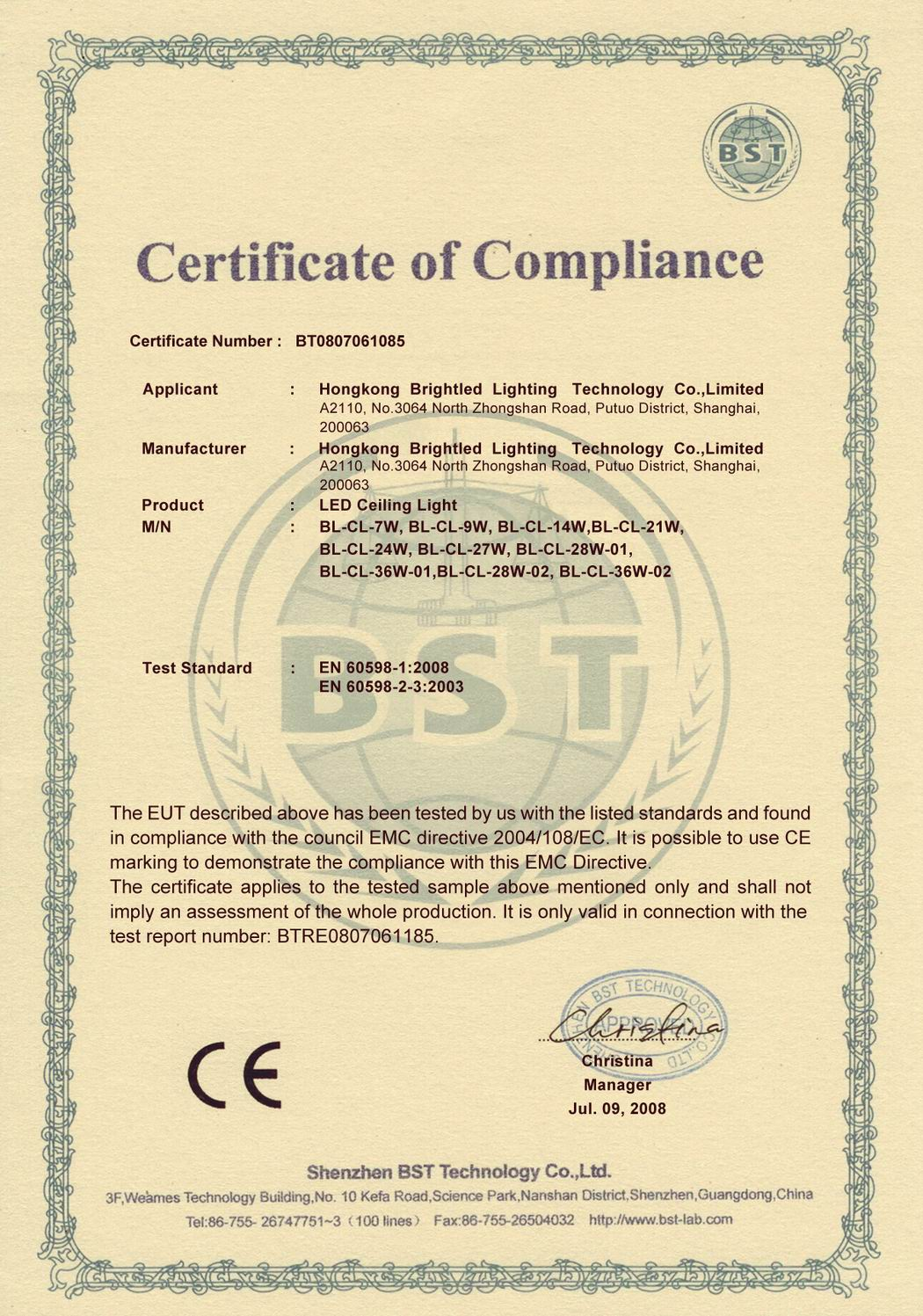 CE Certificate of LED Ceiling Light