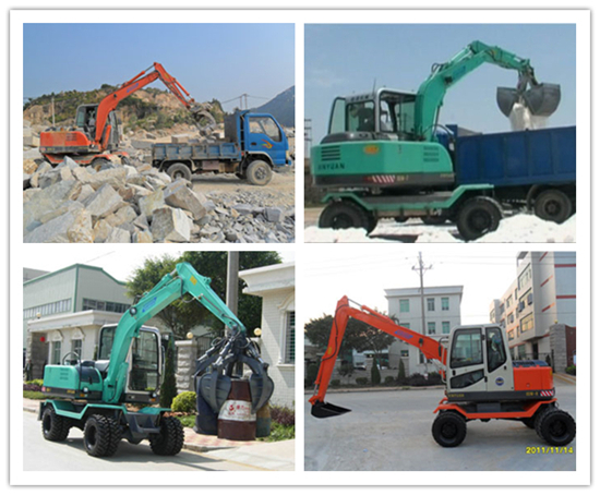 wheel excavator with different kind of attachments