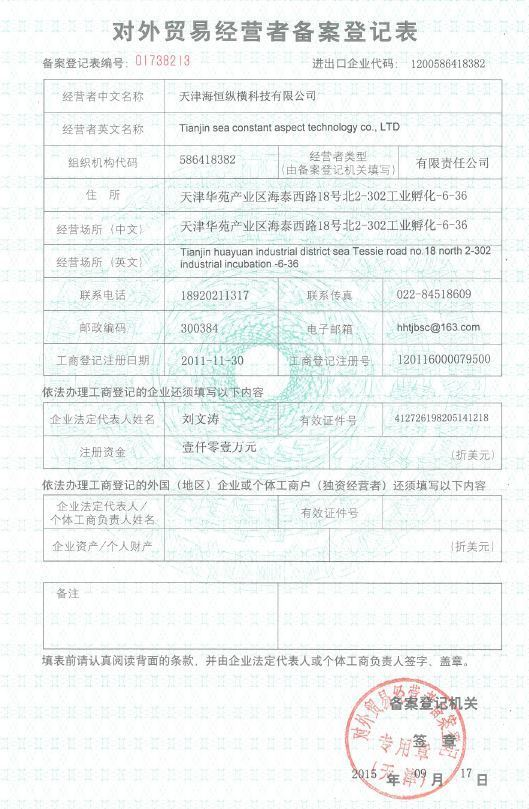 Registrition Form of Foreign Trade Business Operator Record