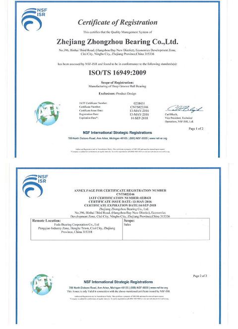 ISO/TS 16949 Certificate