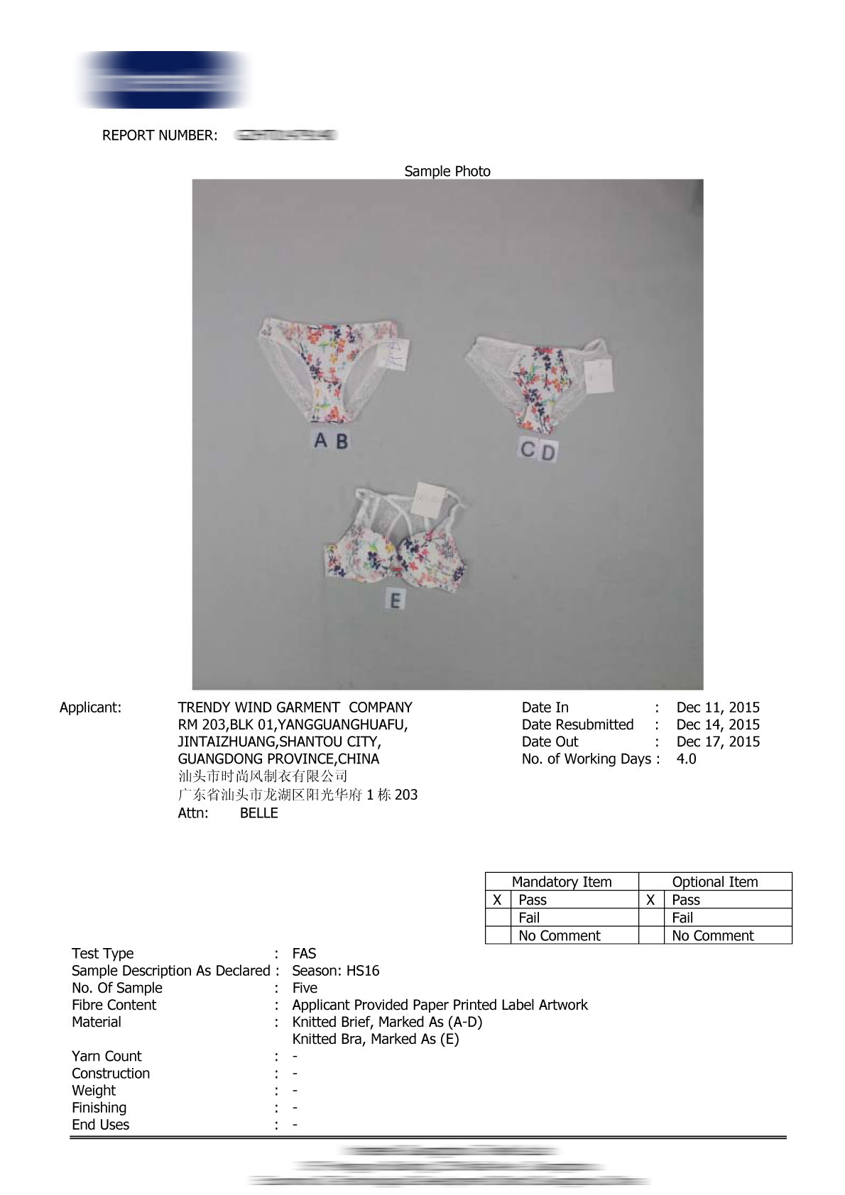 Garment Test Report