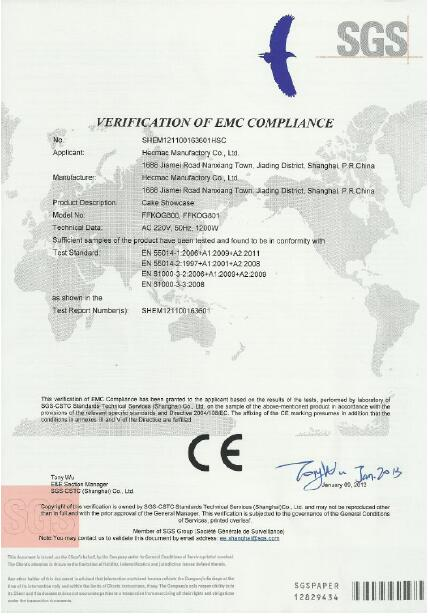 CE Certification of Cake Showcase