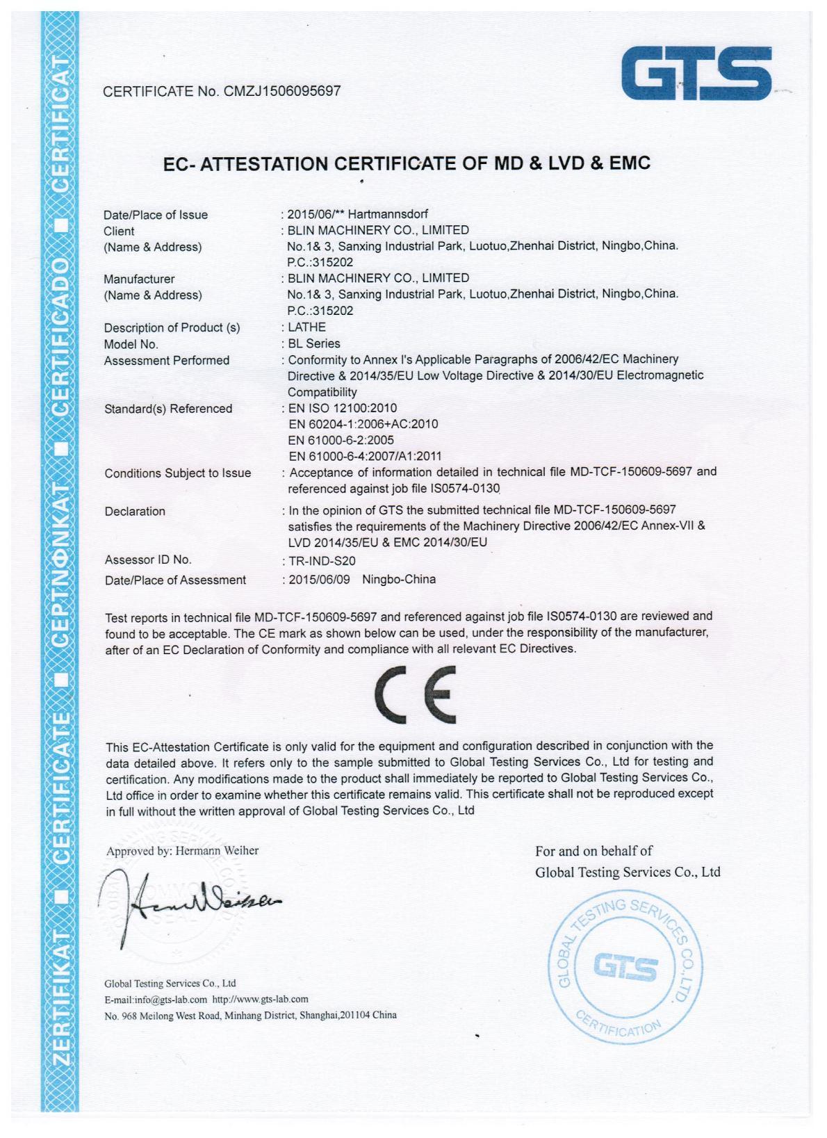 CE Certificate of Lathe