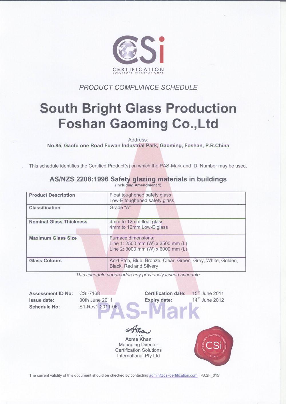 Certification for Australia Standard of Glass03