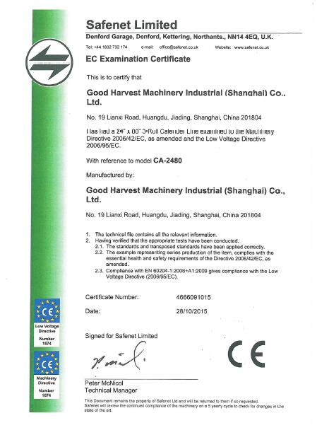 CE Certification of Calender Line