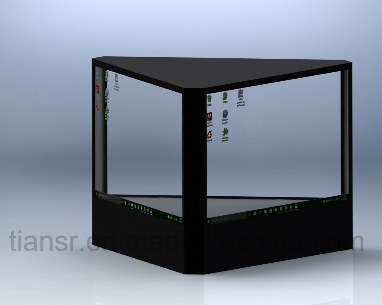 16 inch Three Sides Transparent Display Stand with 360 Viewing Angle