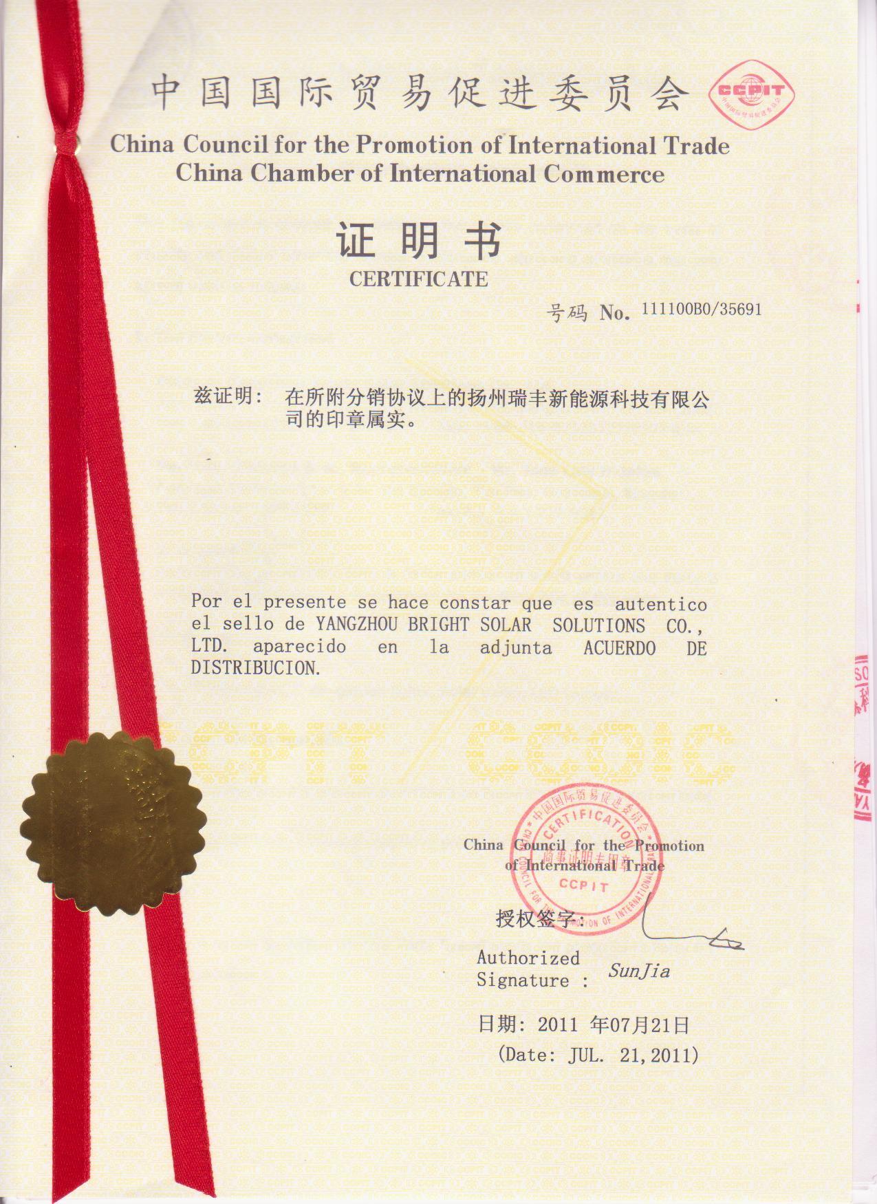 CCPIT Certificate---Solar Street Lights