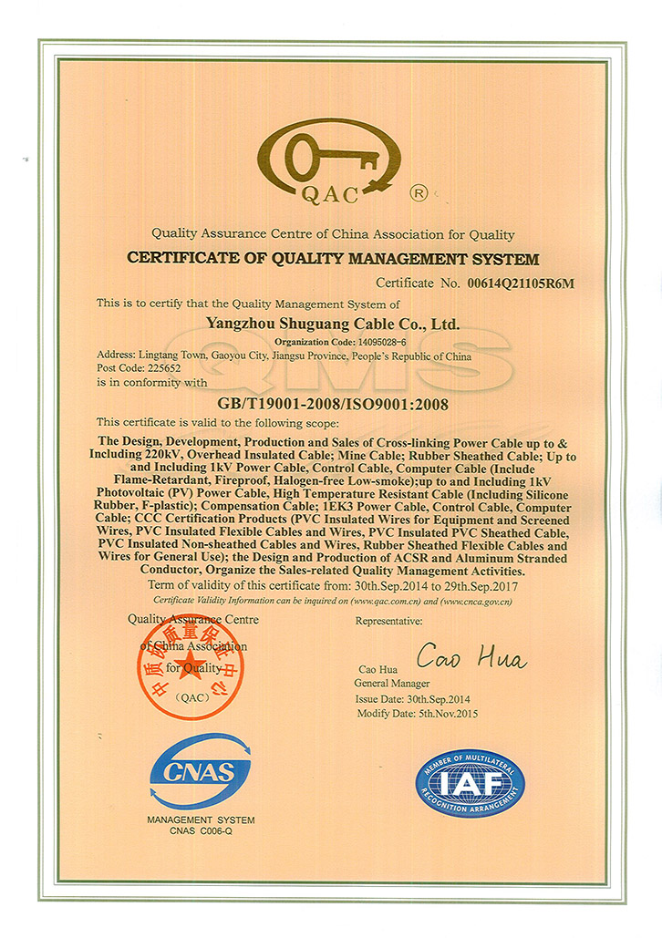 Certificate of Quality Mangement System