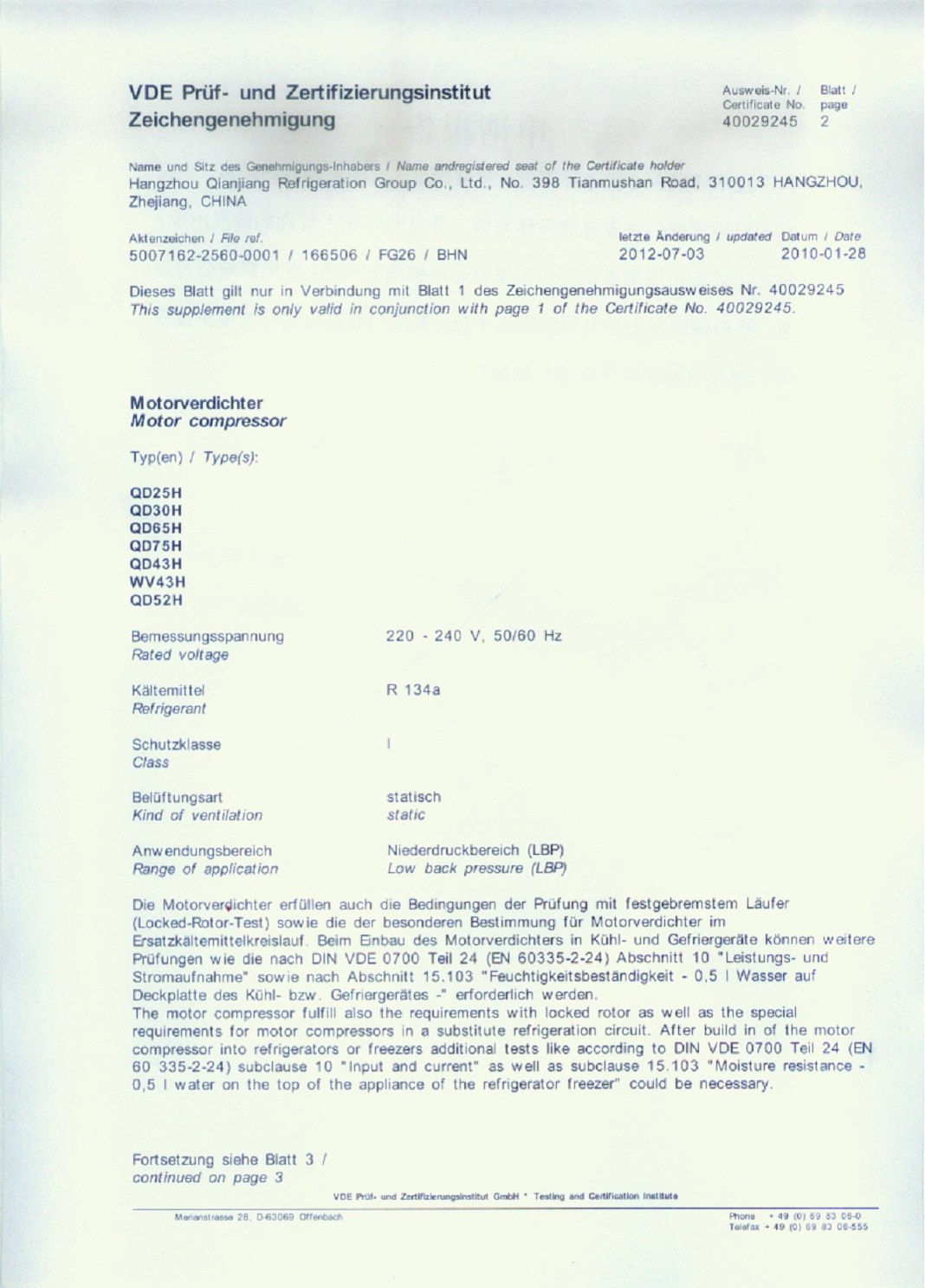 VDE certificate page 2&3