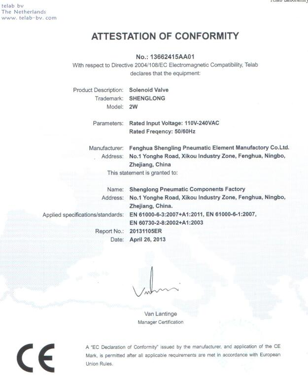Certificate for solenoid valves, pneumatic vibrators