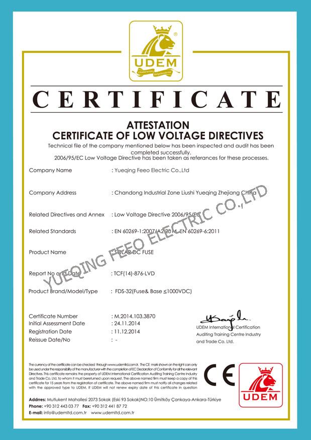 Solar DC Fuse CE certificate
