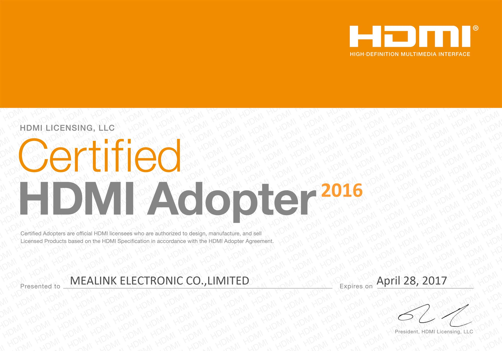HDMI Adopter Certified