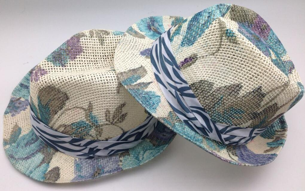 $1 Cheaper Full Printing Fedora Hats for Women with Ribbon