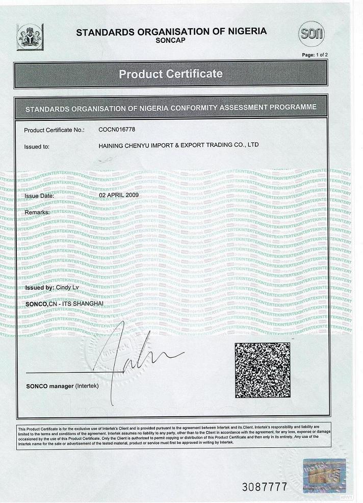 SONCAP Certificates