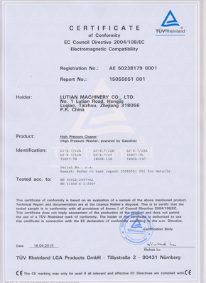 GASOLINE PRESSURE WASHER CE CERTIFICATE