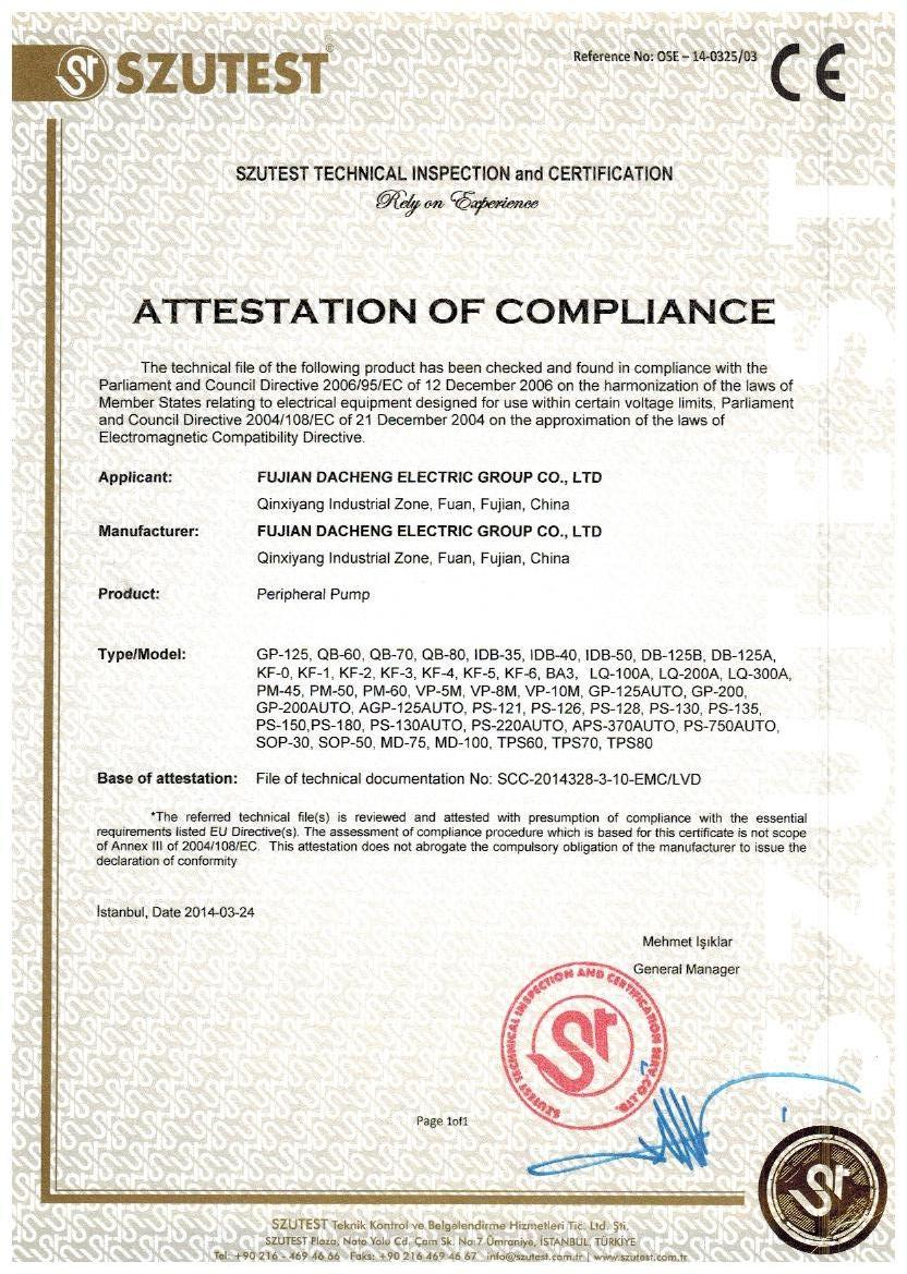 CE Certificate of Peripheral Pump