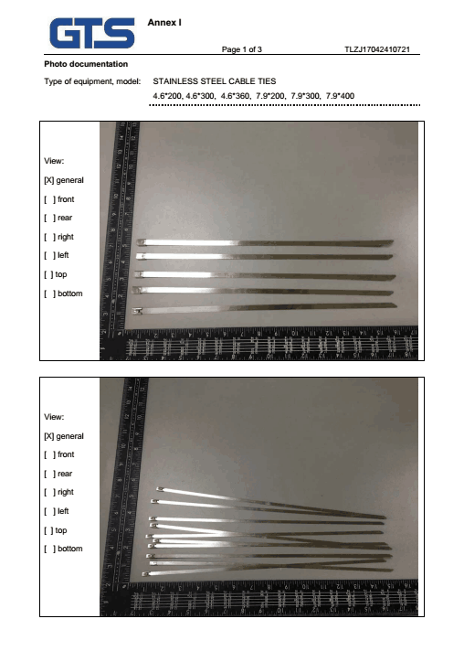 CE Certificate of stainless steel cable tie