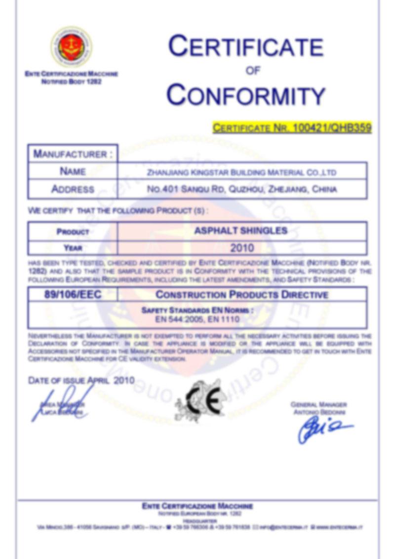 CE Certificate of Asphalt Shingle