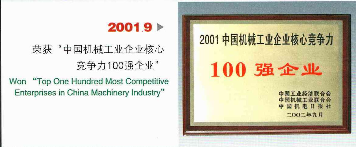 Top One Hundred Most Competive Enterprises In China Machinery Industry In 2001