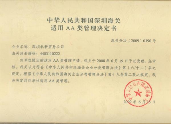 China Custom Credit Rating AA Enterprise
