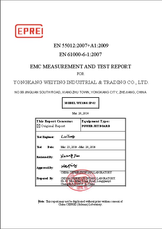 EMC MEASUREMENT AND TEST REPORT
