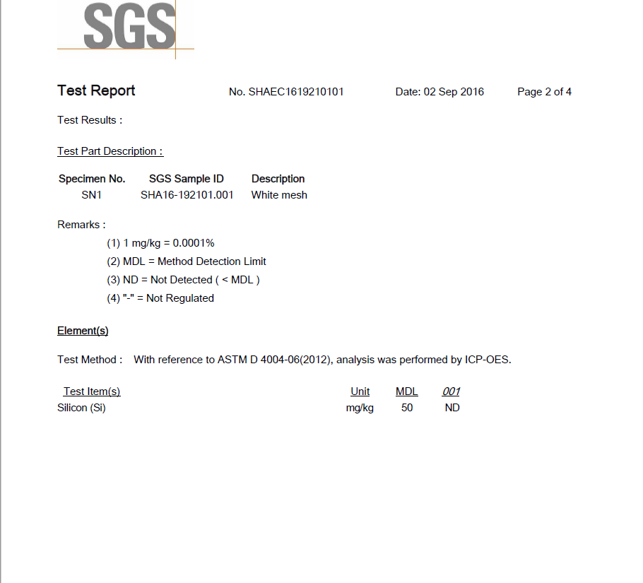 SGS No-silicon Test Report