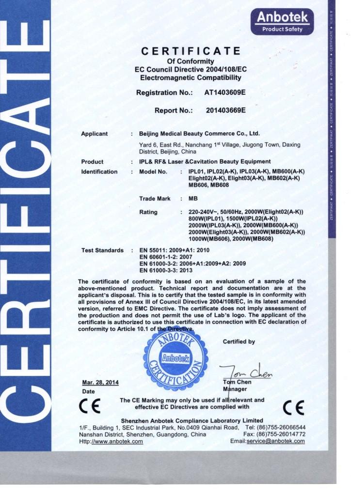 CE FOR IPL MACHINE--EMC