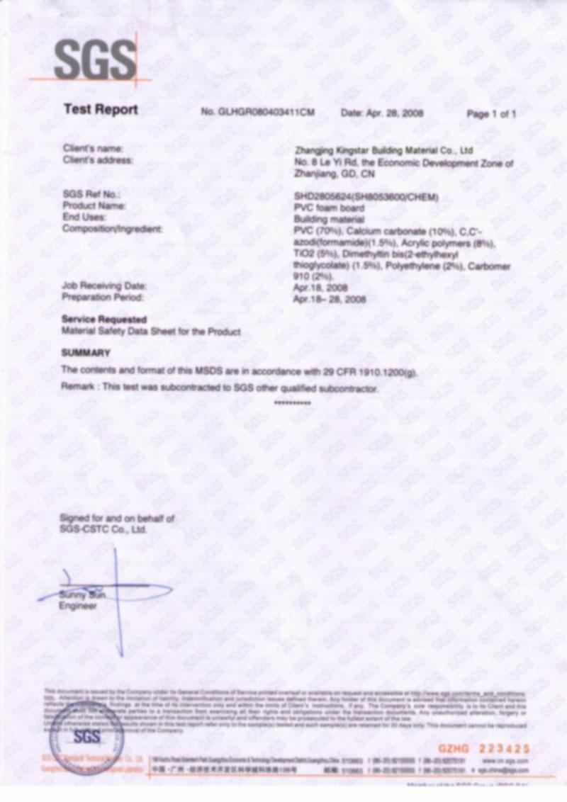 SGS Test Report For PVC Foam Sheet