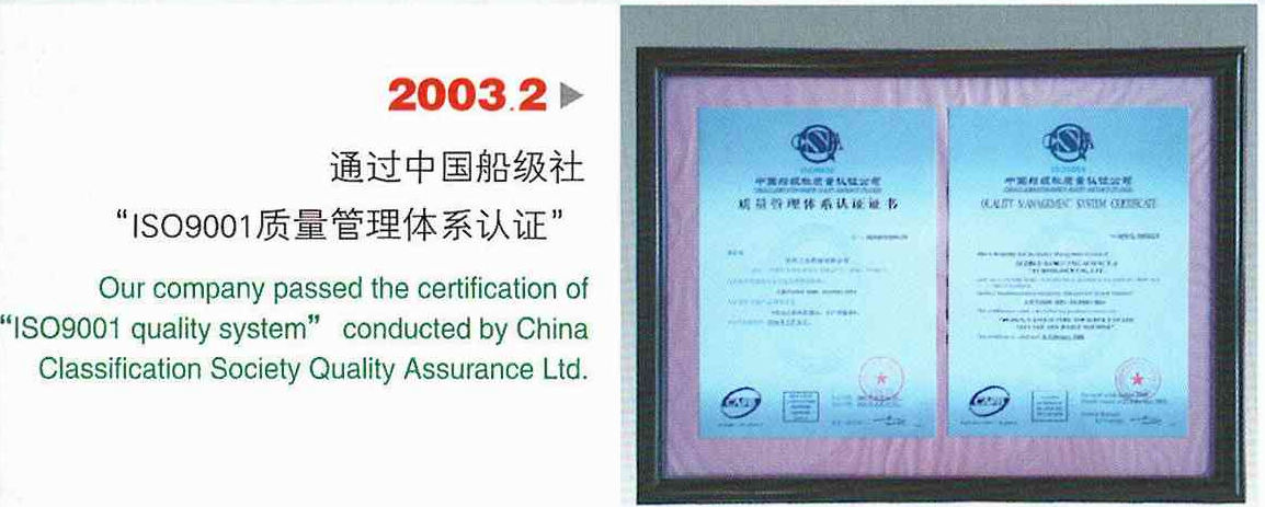Certification Of ISO9001 Standard Quality System From 1987