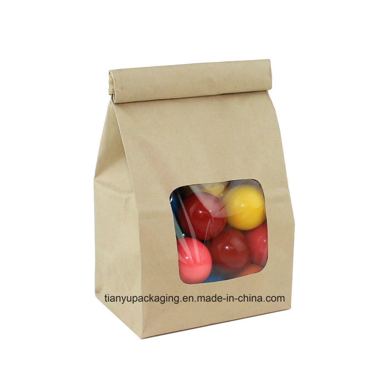 American popcorn paper bag with tin tie clips