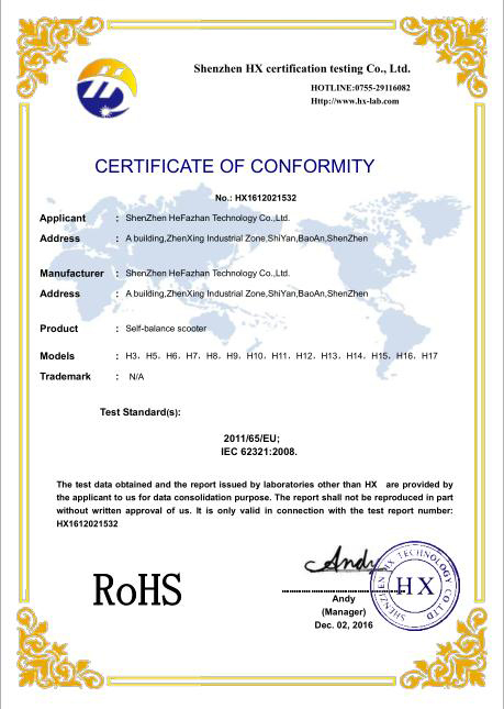 RHOS certification for scooter