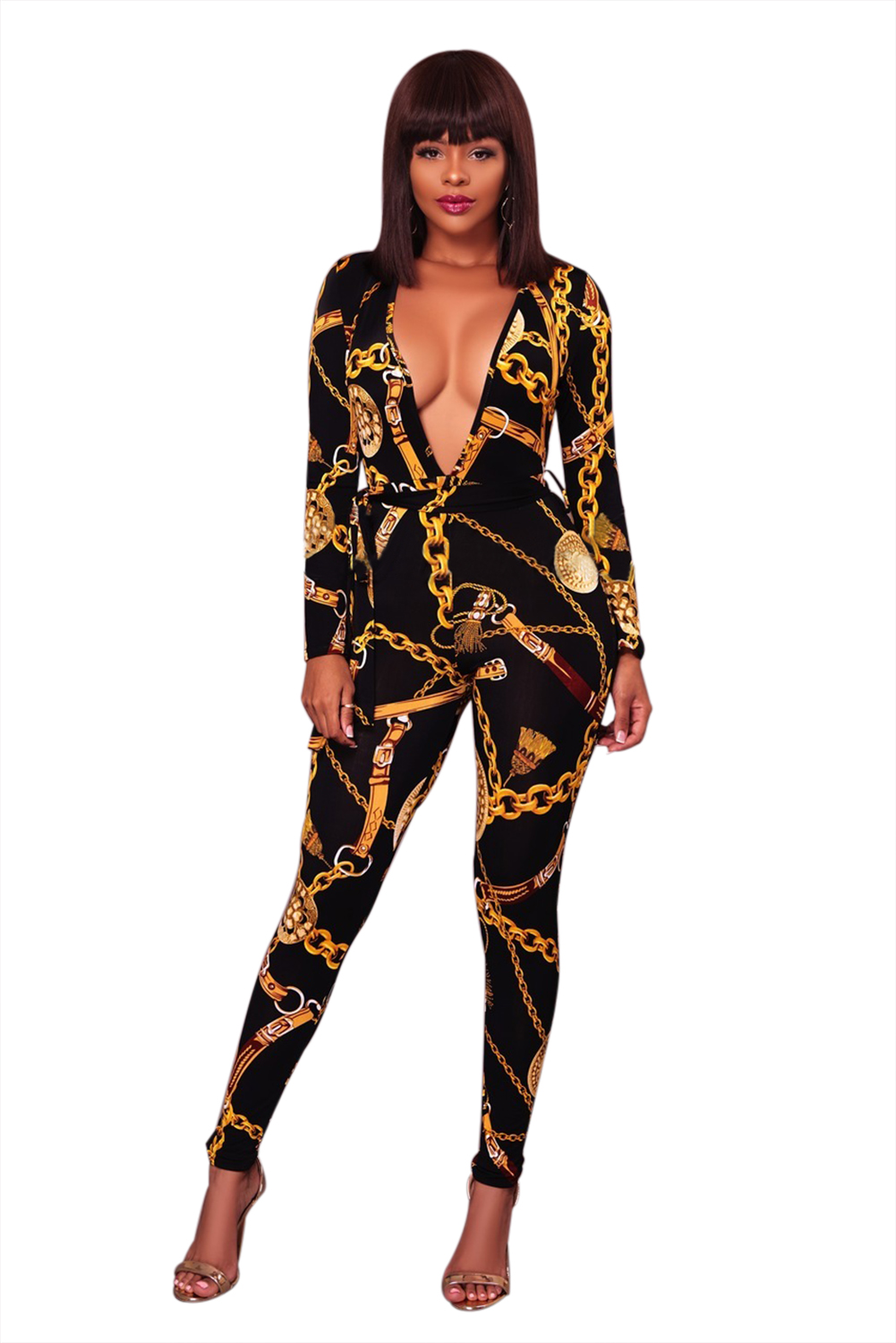 Make a Fashion Statement with this Black Sexy Deep V Neck Gold Chain Print Skinny Jumpsuit