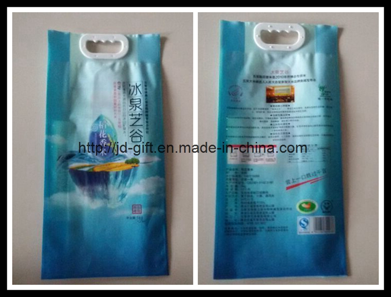 Colorful printing Rice food plastic package handle bag