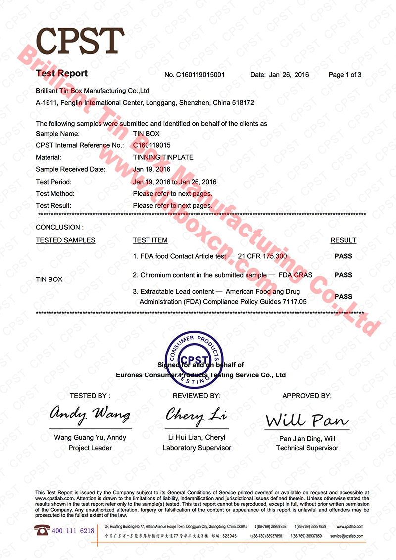 FDA Certificate for Food Safety Grade