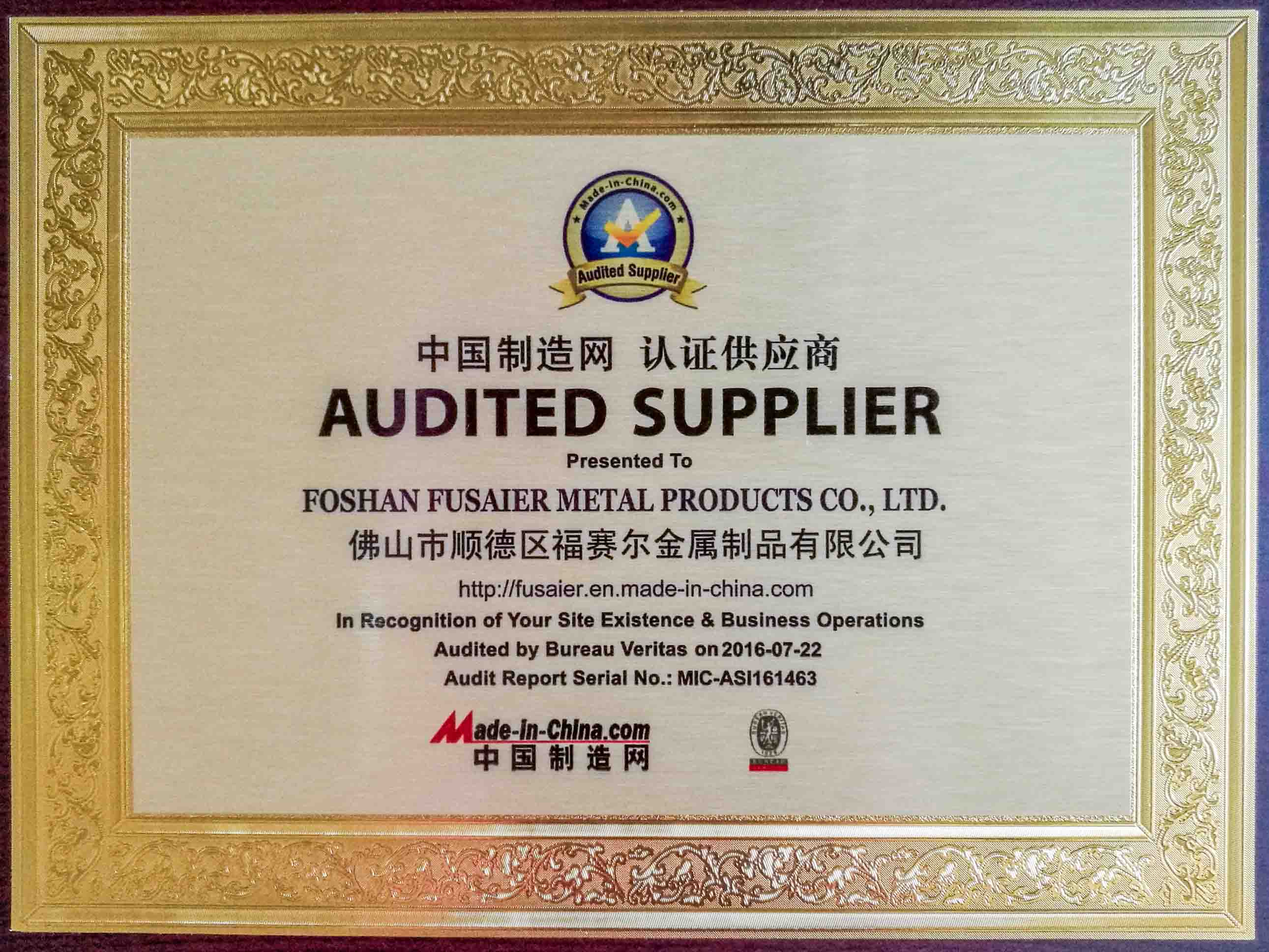 AUDITED SUPPLIER credentiales