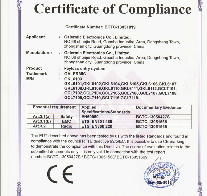 CE certificate for GALERMIC Keyless entry system
