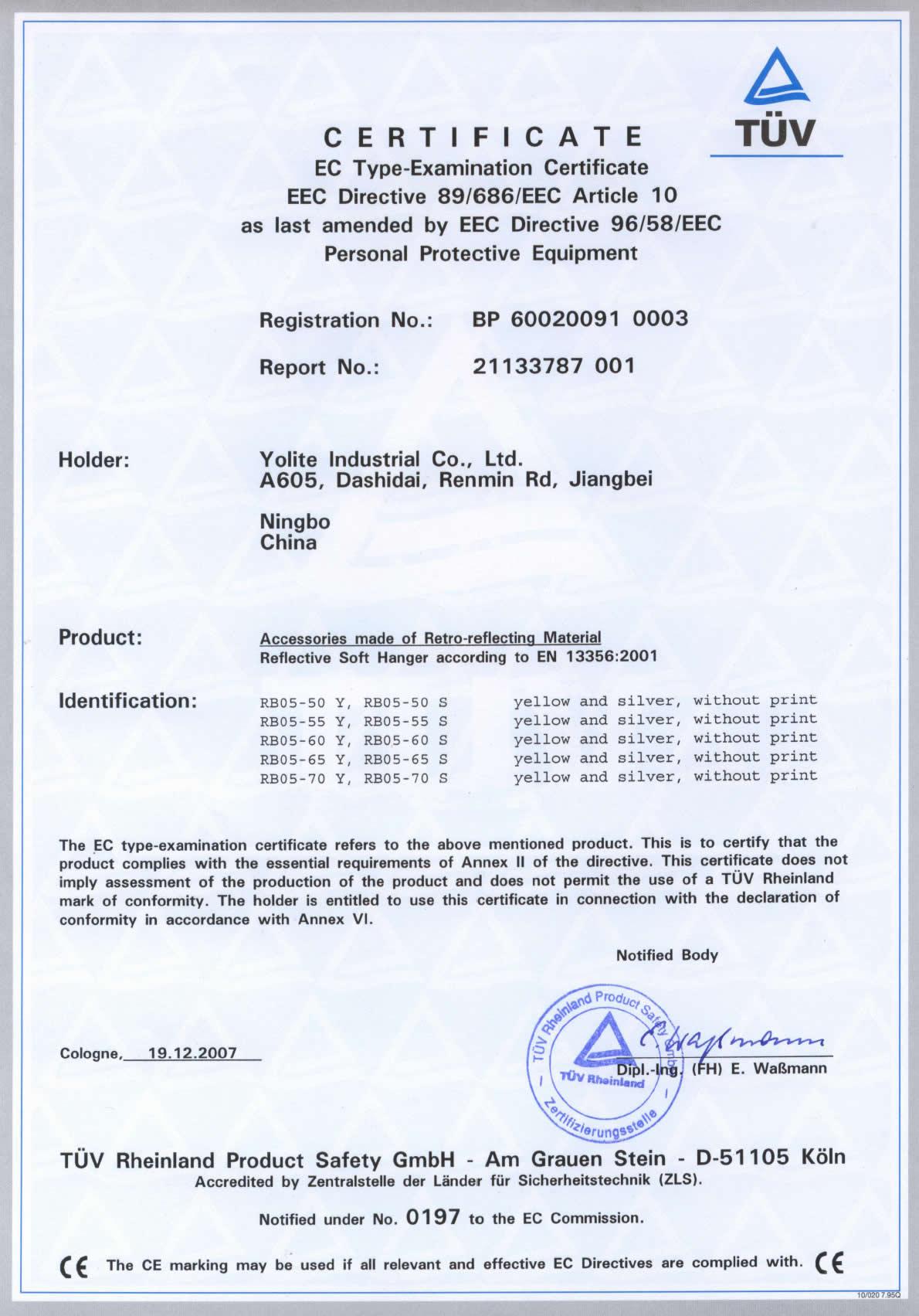 CE EN 13356 certificate for reflective hanger