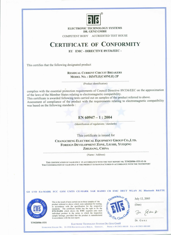 CE Certificate for DZ47LE ELCB