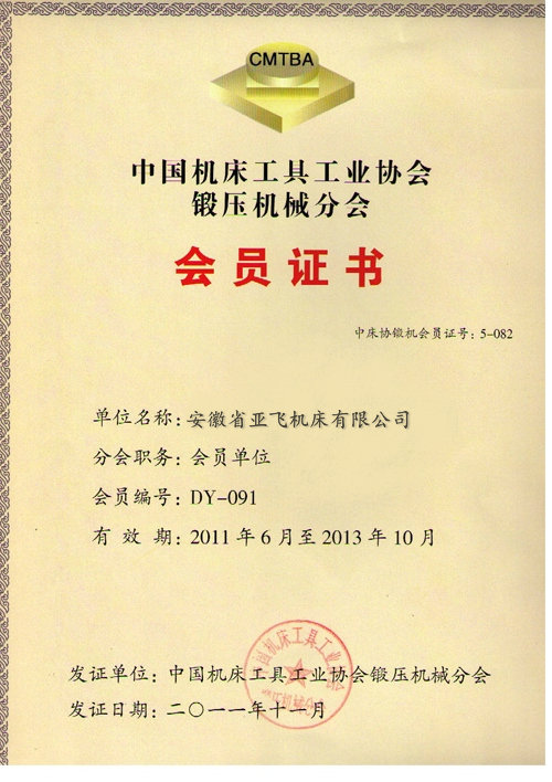 Member of China Machine Tool Association