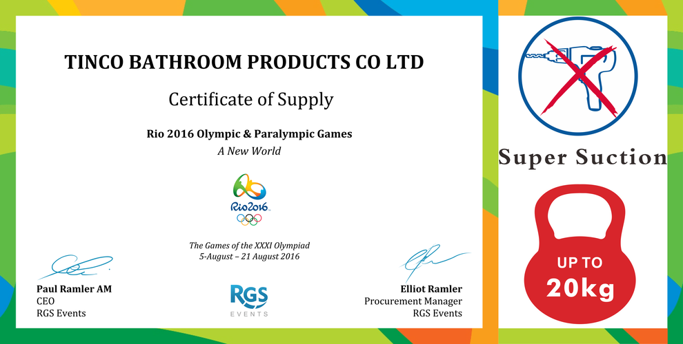 Certificate of Supply to the Rio 2016 Olympic Games