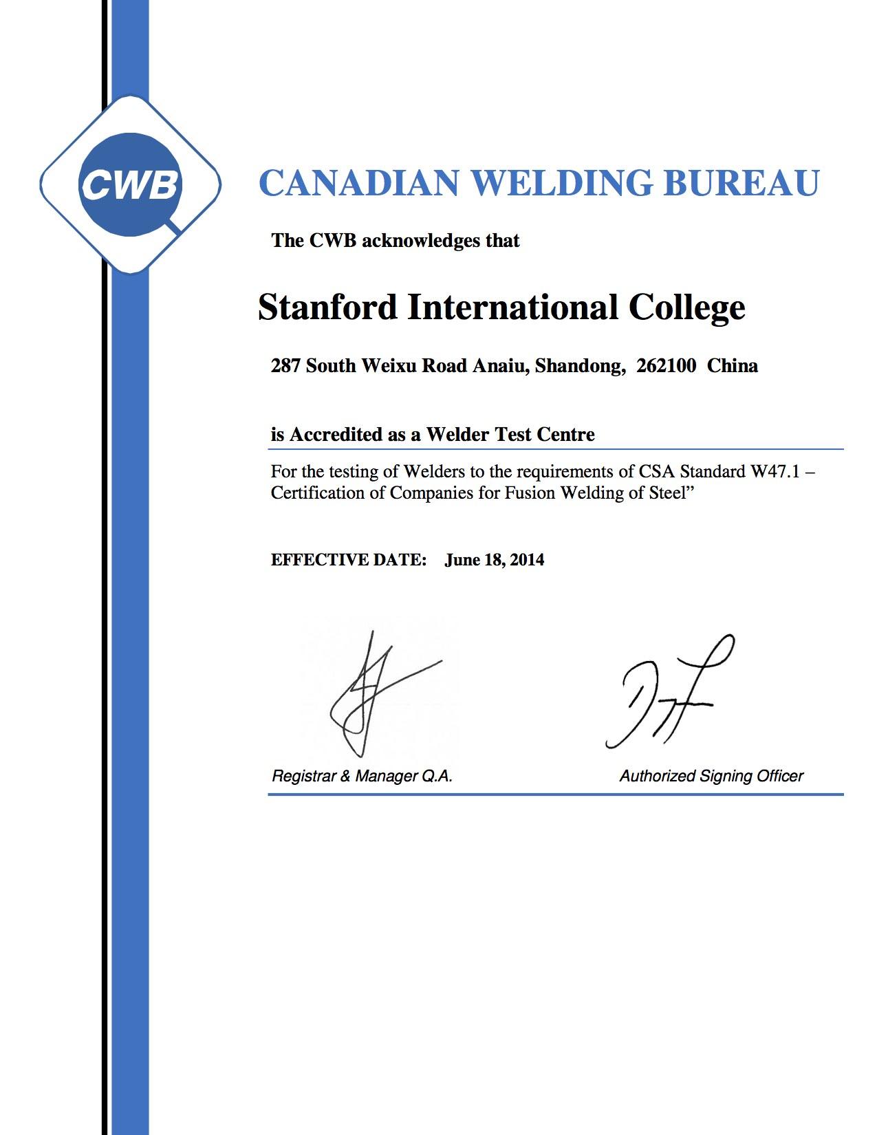 Canadian Welding Bureau Certificate