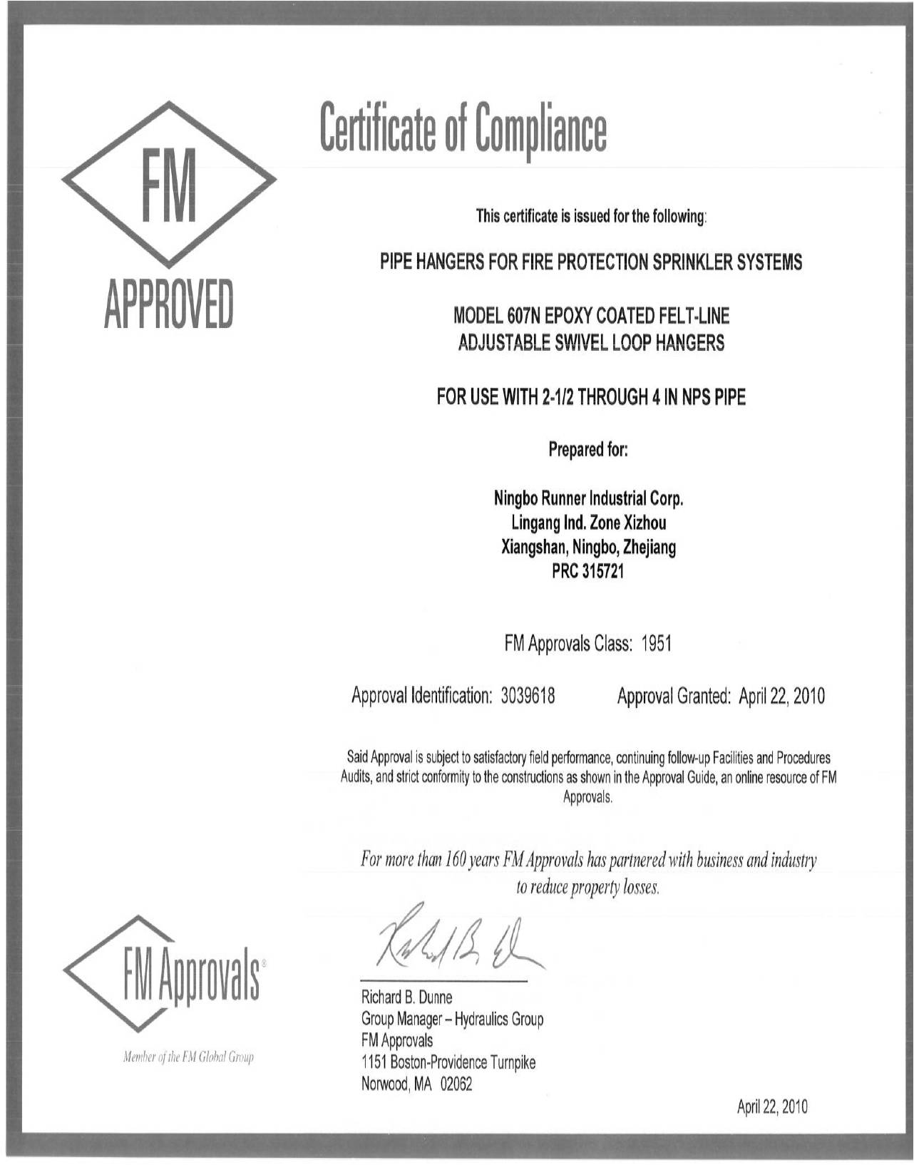fm certificate approval ningbo corp runner industrial swivel epoxy certificated coated hangers lined loop felt adjustable apr