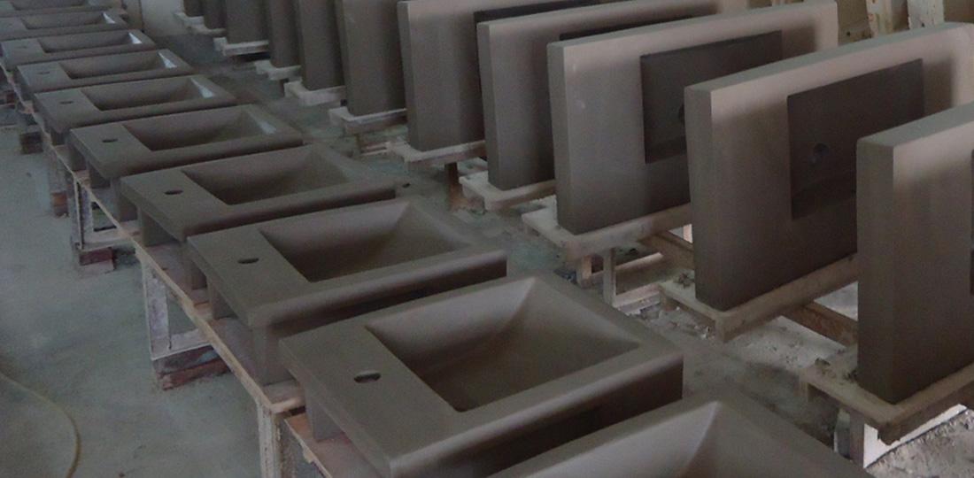 Drying process of semi-recessed basin