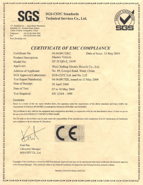 CE Certificate for Electric Bike