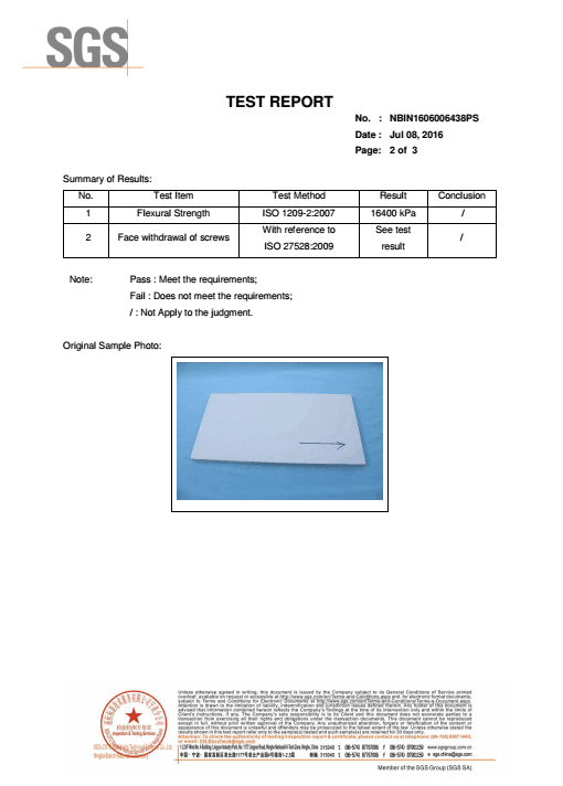 PVC Foam Board Test Report