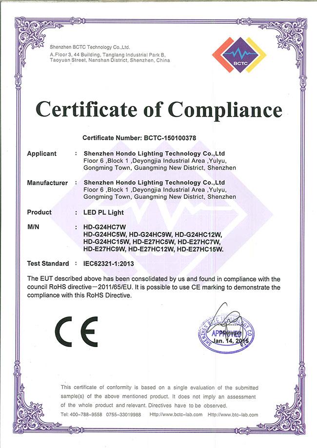 RoHS for led pl light